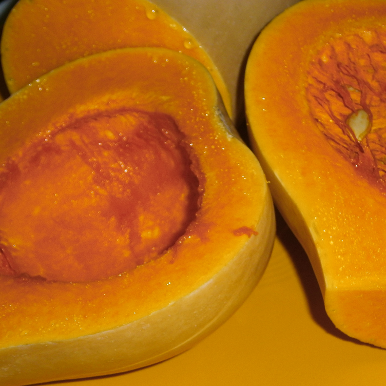 Cut Butternut Squash in half and remove seeds, peel, and cube to make a soup.