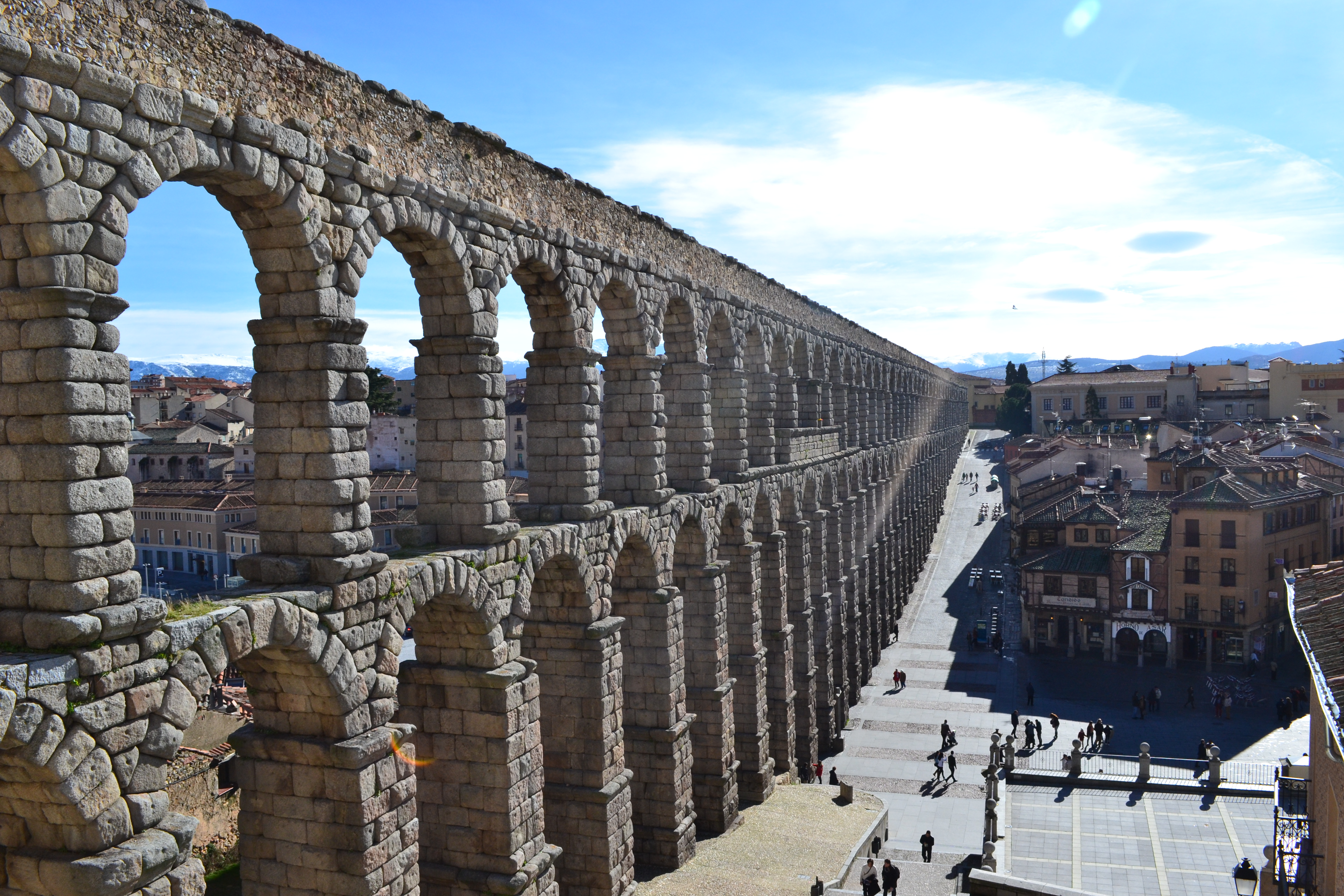 Elaborate aqueducts created by the ancient Romans brought clean running water to the inhabitants of ancient Rome.
